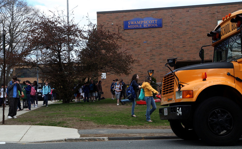 Dismissal at Swampscott Middle School Monday APril 12, 2010. Item Photo/ Reba M. Saldanha