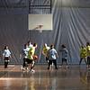 Special needs teacher Dennis Baldini dribbles during theBelmonte Middle School teacher/student basketball game Wednesday APril 14, 2010. Item Photo/ Reba M. Saldanha