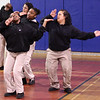 Ebbony Davis, left, Tiana Toribio, Danejah Davis, and Irayda Matos, all members of In the Mak'n, a step squad rehearse prior to their performance in the 10th annual Health Kids Day at the YMCA in Lynn on Saturday.