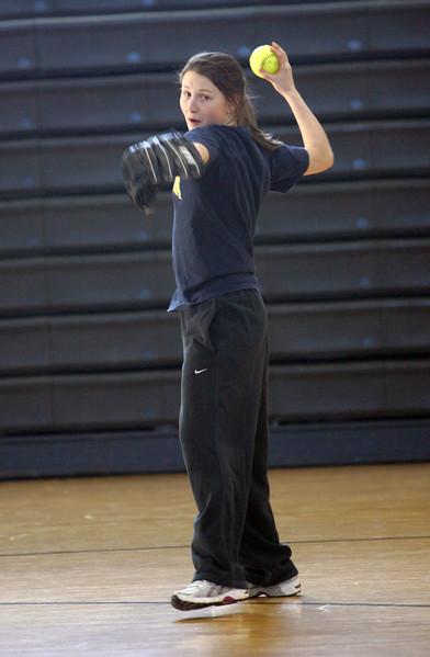 Returning player Emmie York during Marblehead softball practice Thursday April 1, 2010. Item Photo/ Reba M. Saldanha