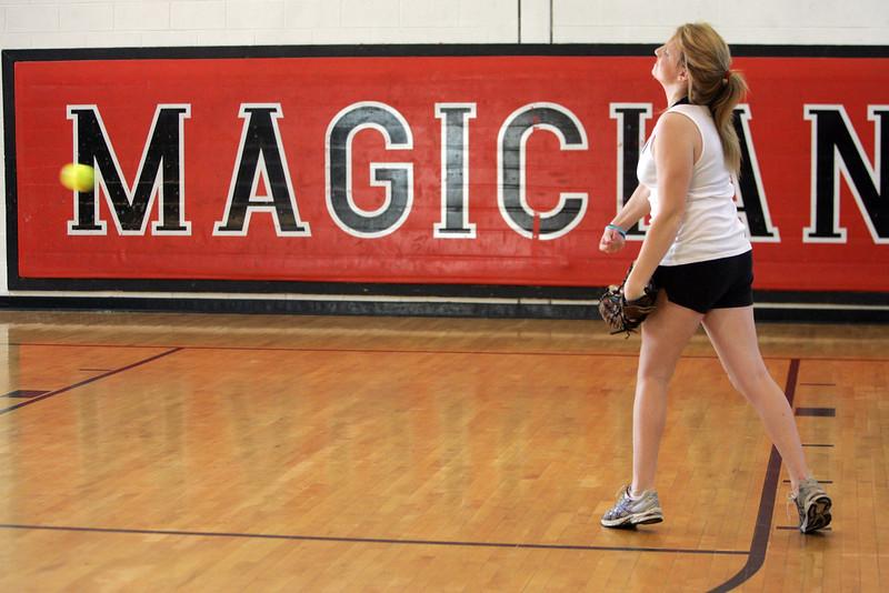 Pitcher Sarah Hastings during Marblehead softball practice Thursday April 1, 2010. Item Photo/ Reba M. Saldanha