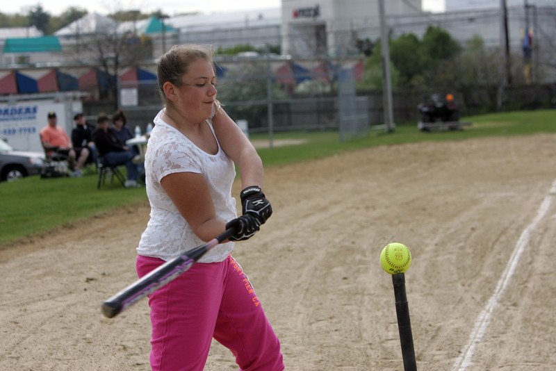 Shannon Gayron, 12, competes in the little league Pitch, Hit, and Run derby at Saugus High School Sunday April 25, 2010. Item Photo/ Reba M. Saldanha