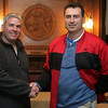 Newly elected Swampscott selectmen Richard Malagrifa, right, and David Van Dam at Swampscott Town Hall on election night Tuesday April 27, 2010. Item Photo/ Reba M. Saldanha