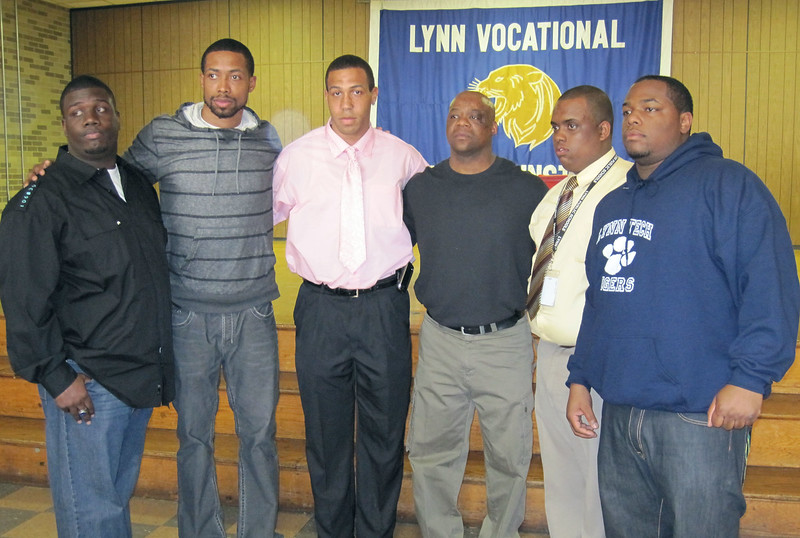 At the Tech basketball banquet are (from left) Coach MacKenzie Charles, Antonio Anderson, Jovan Holland, Coach Marvin Avery, coach Angel DeLeon, and James Anderson  Thursday April 29, 2010. Item Photo/ Reba M. Saldanha