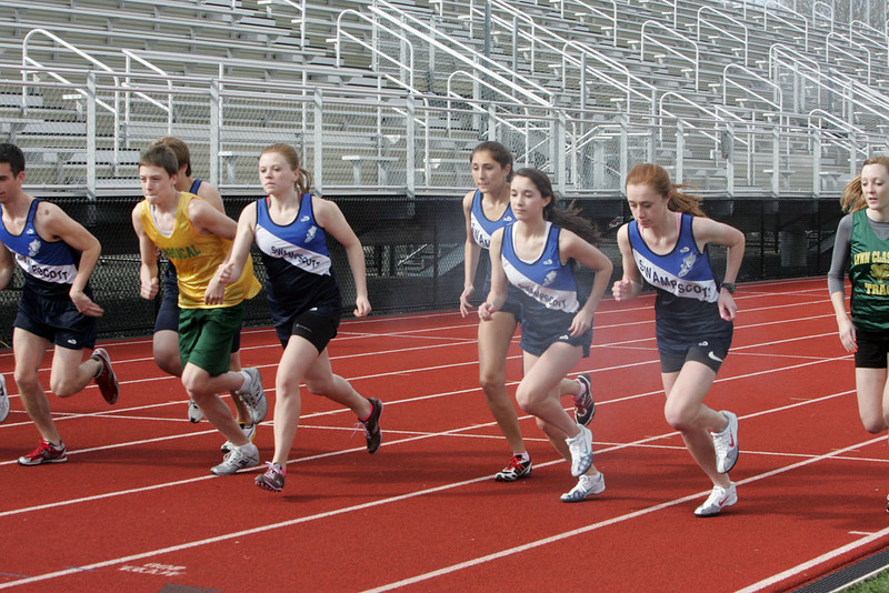 Runners take off during the Swampscott Classical track meet at Manning Field Monday APril 5, 2010. Item Photo/ Reba M. Saldanha