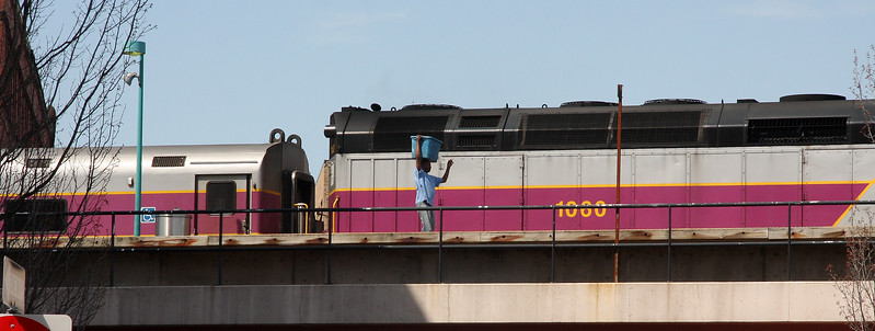 A passenger disembarks from the train in Lynn.