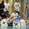 Lynn English High School junior Sophia Salkins and classmates test the buoyancy of their rafts at the Lynn YMCA on Thursday April 8, 2010.  Item Photo/ Reba M. Saldanha.