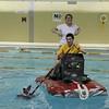 Lynn English High School juniors Sophia Salkins and Christian Peralta test the buoyancy of their rafts at the Lynn YMCA on Thursday April 8, 2010.  Item Photo/ Reba M. Saldanha.