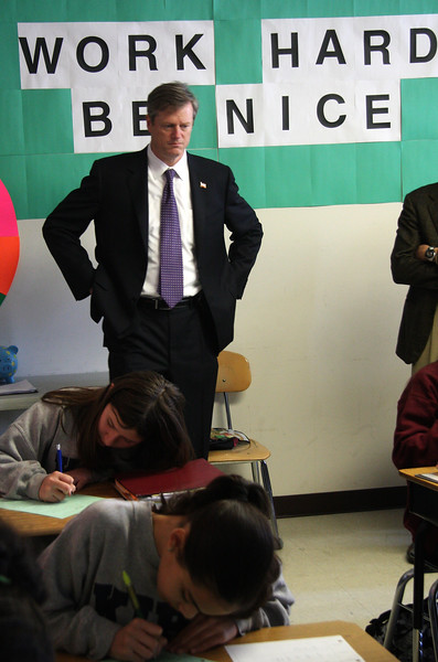 Republican candidate for governor Charlie Baker observes a class at KIPP Academy in action today.