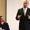 Governor Deval Patrick speaking at the Lynn Business Partnership meeting at the Eastern Bank headquarters on Market Street in Lynn today. Mayor Judith Flanagan Kennedy.