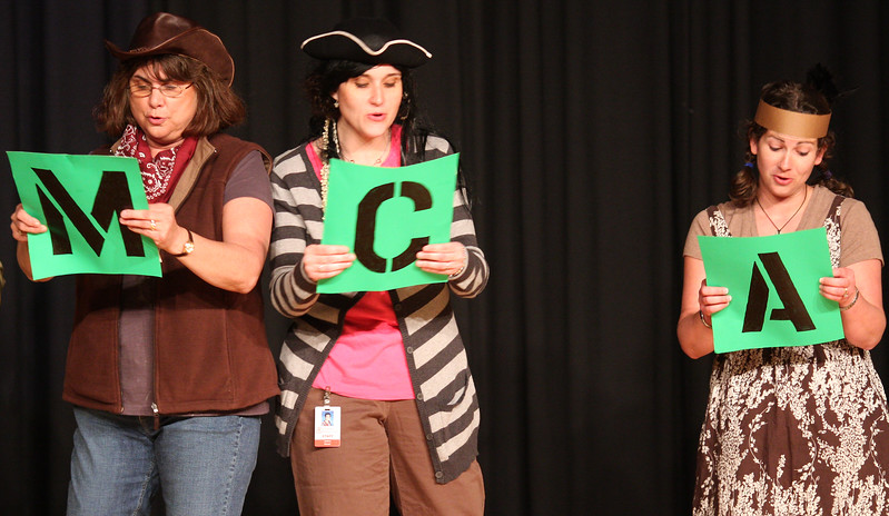 The MCAS pep rally ended with the teachers doing a song and dance routine.