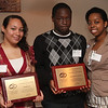 Left to right: Genesis Diaz and Marven-Rhode Hypolite were this year's recepients of the Laura Speranza Memorial Award. Lise Wagner, far left, last year's winner, presented the awards.