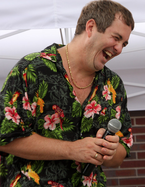 Joey Barlione watching his son Cameron sing at the 18th annual summer picnic at Laurel Gardens in Saugus.
