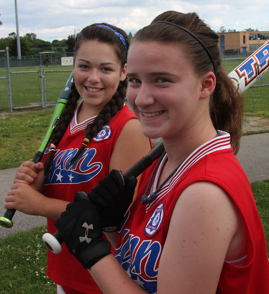 Kaitlin Calef, Left, and Katie Donnelly, both members of the 14 year old babe Ruth all-stars softball team in Lynn have a tournament games on both Saturday and Sunday in Tewksbury.