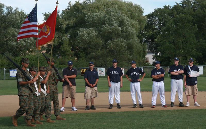 The Jr. ROTC from Lynn English consisting of Christian Beato, Elianny Luciano, Corinthia Blanco, and Xavier Rosa opened the ceremonies at World Series Field in Saugus.