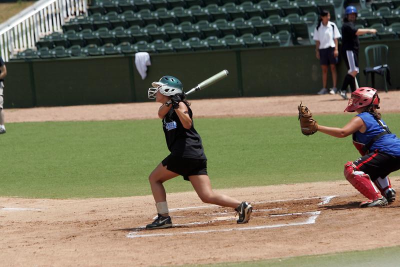 Catcher Rachel Channen and Fallon Gaudet at the Agganis softball classic Sunday July 11, 2010. Item Photo/ Reba M. Saldanha