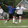 Allen Gray, left, and Dylan Davis during the Agganis men's soccer classic at Manning Field Tuesday July 13, 2010. Item Photo/ Reba M. Saldanha