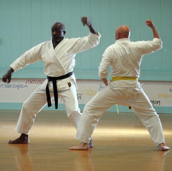 Karate instructor Jordan Berry and student Jesse fowler at the Lynn YMCA Wednesday July 14, 2010. Item Photo/ Reba M. Saldanha