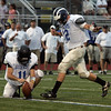 Kyle Shonio, kicking , and Hayes Richardson at the Agganis All Star football classic at Manning Field Thursday July 15, 2010. Item Photo/ Reba M. Saldanha