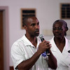 Donald Frye of Lynn asks a question to Gov Deval Patrick at Zion Baptist Church Sunday July 18, 2010. Item Photo/ Reba M. Saldanha