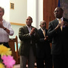 (from left) John Tierney, Deval Patrick, Pastor Dr William C Hill, and William Jones clap to the Gospel Choir's songs at Zion Baptist Church Sunday July 18, 2010. Item Photo/ Reba M. Saldanha