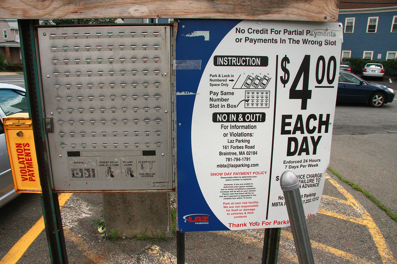 Pay for parking machine at Swampscott Commuter Rail Station.