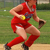 Shawna Drown about to throw to first.