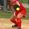 Keri Donovan making a play at first.
