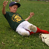 Cameron Vautour in the process of winning the 8-11 year old Little League sliding Championship at baseball camp  today.