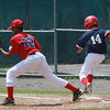 Out at first. Phil Garraud, 12, gets Ricardo Bratini out at first.; City Series on Saturday.