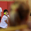 Dario Cocchi pitches to a batter during a game of bounce pitch at the summer gym program at the Saugus High today.