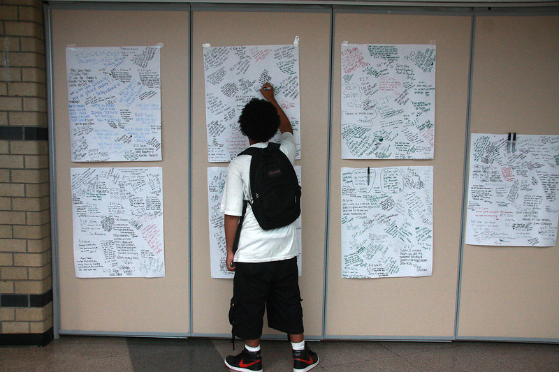 Seven grief panels were put on the wall in the cafeteria at Lynn Classical for the Fort drowning.
