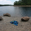 A towel on the sand at Breeds Pond today.