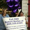 Union Hospital workers Karen Nardone, left, and Diane Rocker at a rally on Lynnfield St in Lynn Wednesday July 28, 2010. Item Photo/ Reba M. Saldanha