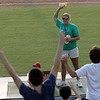 Ashley Laramie throws Jimmy Buffet t-shirts to fans at the North Shore Navigators game Wednesday July 28, 2010. Item Photo/ Reba M. Saldanha