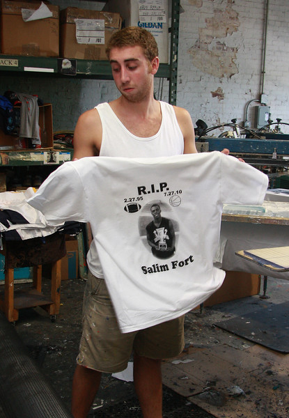 Jeff Fiore printing tee shirts for Salim Fort.