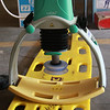 The Lucas CPR machine sitting on a board as it would if a patient were lying down face up .