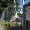 Bridge Street pedestrian walkway that runs behind the Saugus Iron works is closed ude to unsafe conidtions Thursday July 8, 2010. Item Photo/ Reba M. Saldanha