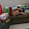 The Christmas presents on hand to be given out to each student by Santa at the LHAND Christmas for Washington School students at the Lynn Housing Authority on Tuesday.