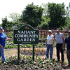 (from left) Elaine Caira, Linda Pivacek, Paul Caira, and Bobby Ward pose outside the Nahant Community Garden behind the Johnson School Thursday June 16, 2011. Item Photo/ Cyrus Moulton