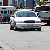 ABDUCTED CHILD, LYNN. A Lynn Police car coming down Cliff Street today.