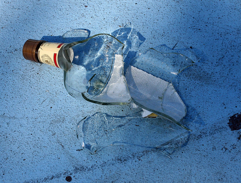 Broken glass on the basketball court