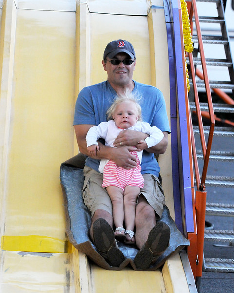 7/28/11, Holy Family Church, Lynn.  The Slide.  Jeff and Lindsay Mishol, Saugus try out the slide.