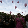 The crowd realsed balloons in honor of drowning victim Sydney Vinci at Lynnfield Middle school Thursday July 7, 2011. Item Photo/ Reba M. Saldanha