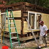Ed Major working on the Shoe Hut at the Lynn Museum.