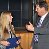 Saugus High Senior Stefani Terrazzano receives a certificate of academic excellence from superintendent Richard Langlois during Thursday night's School Committee meeting. By Matt Tempesta.