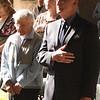 Leda Barr, a Navy nurse in world War II, and John Ford at the Lynn Women's Veterans Memorial Service in Lynn city Hall today.
