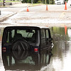 One jeep was stranded under the railroad bridge on Burrill Street in Swampscott today.