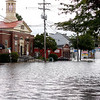 Foster Street in Peabody is flooded, on Tuesday, October 4. By Angela Owens.