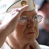 Lorrie Landry, a veteran of Korea, at the Lynn Women's Veteran's Memorial Seivice at Lynn City Hall today.